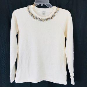J CREW Cream Jeweled Sweatshirt XS